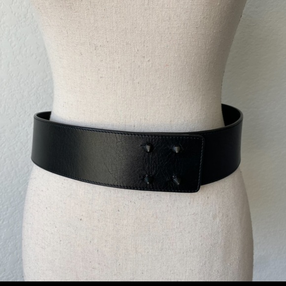 AllSaints Cufflink Leather Studded Belt Size Large